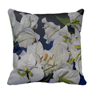 White bougainvillea throw pillow