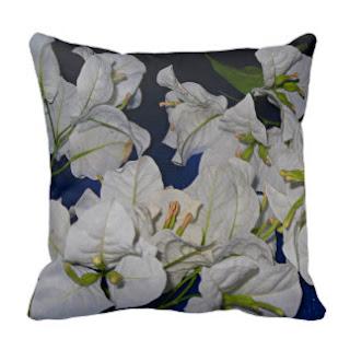 White bougainvillea throw pillow
