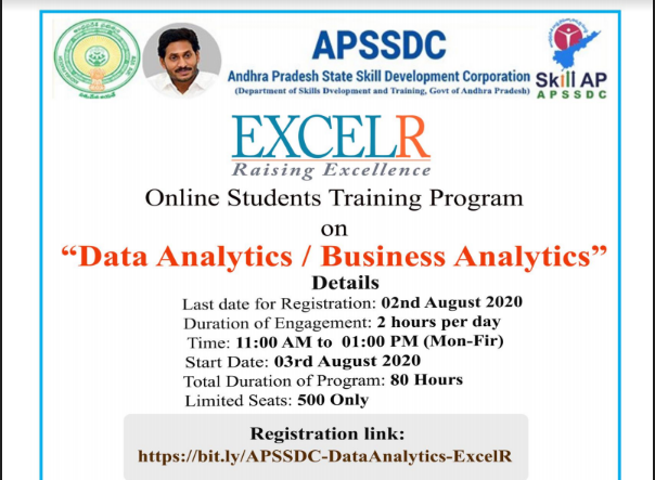 "Andhra Pradesh State Skill Development Corporation APSSDC -EXCELR Online Students Training Program on ""Data Analytics / Business Analytics"" Click Here To Apply APSSDC- Online Training Courses to Unemployed YouthAPSSDC- Online Training Courses to Unemployed Youth/2020/07/APSSDC-Online-students-Training-programme-on-Data-Analytics-Business-Analytics-Registration-form-www.apssdc.in.html"