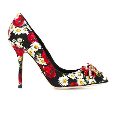 Dolce and Gabbana daisy and poppy print high heeled pumps