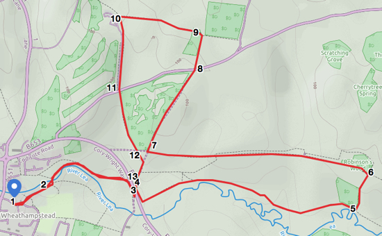Map for walk 39: Ayot Greenway West Loop