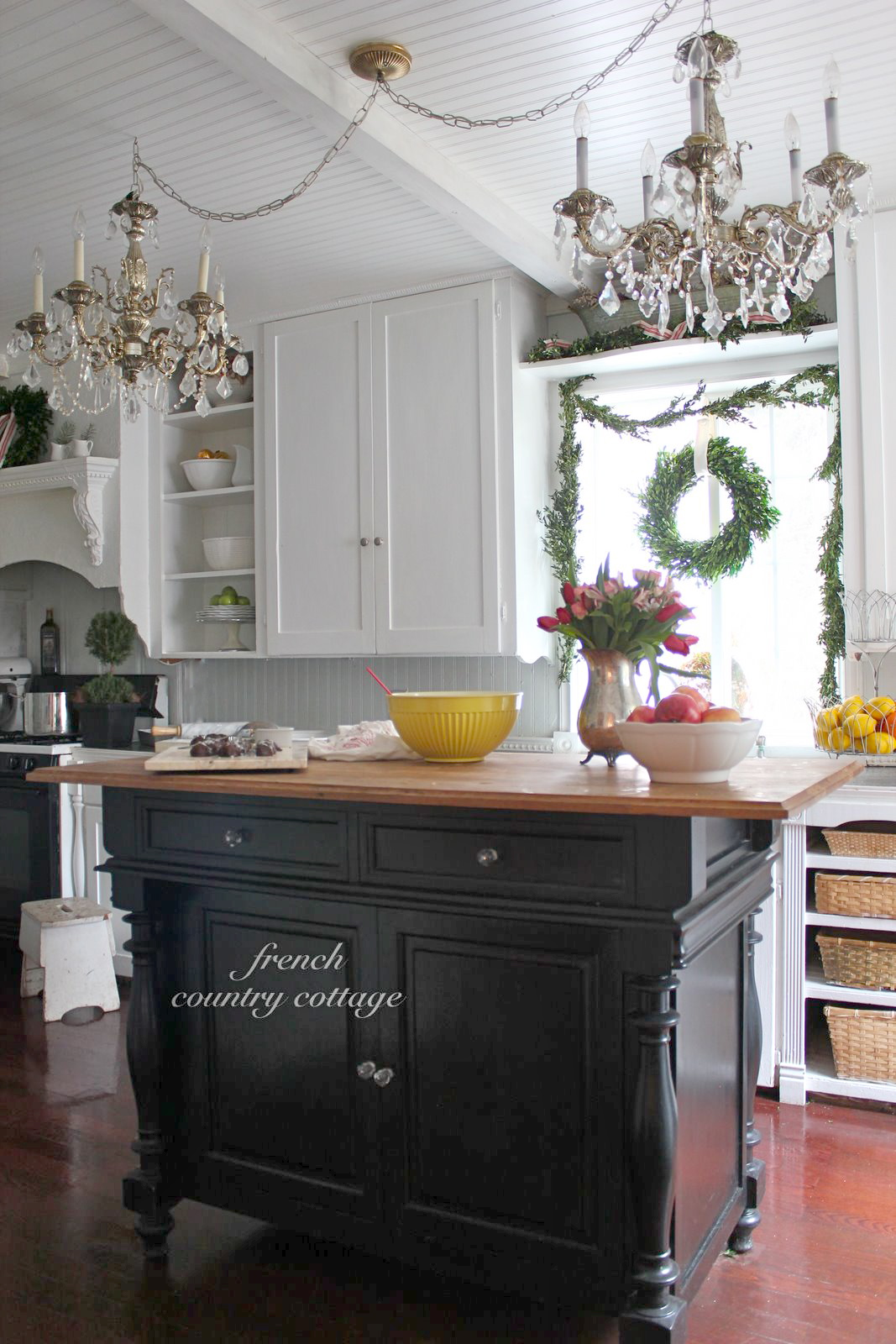 French Country Cottage Christmas Kitchen