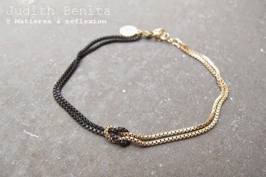 Bracelet Judith Benita noir et doré Knot