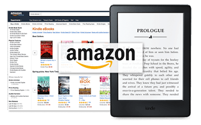 Montaje de un pantallazo de Amazon Kindle Ebooks con un ebook delante