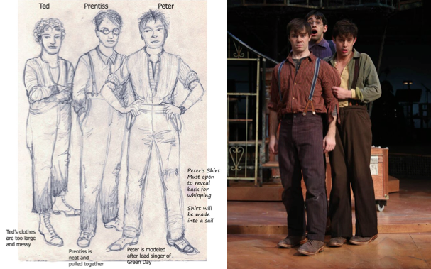 Holly's design for the Orphans, Ted, Prentiss and Peter, as worn by (L to R) Evan Johnson, Daniel Bailin and Jorge Donoso. Photo by Curtis Brown.