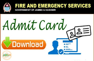 JK Fire and Emergency Admit Card For Written Test 2020 : Released Apply Now