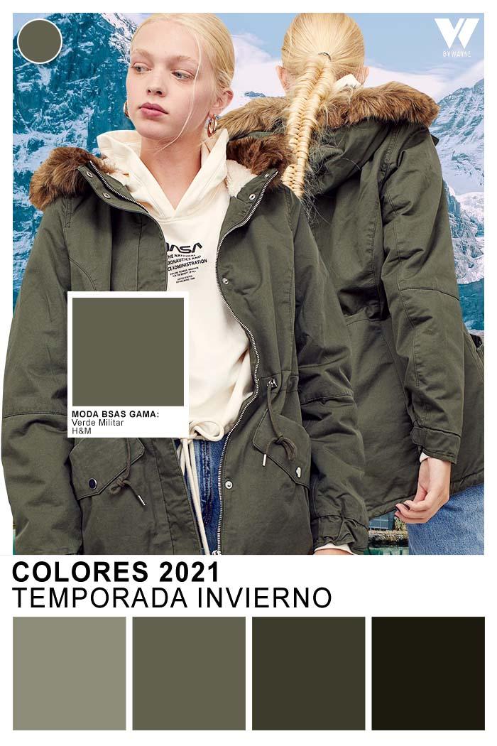 Verde militar otoño invierno 2021