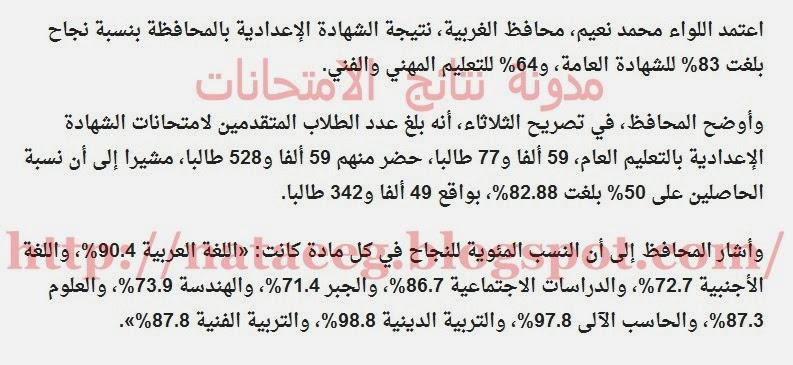 نتيجة الشهادة الإعدادية بمحافظة الغربية فصل دراسى اول
