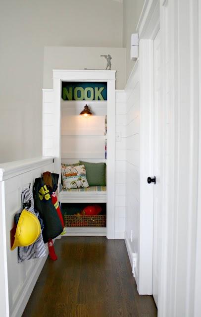 book nook created from linen closet