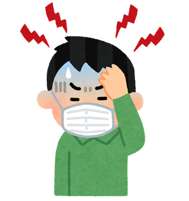 マスク頭痛のイラスト(男性)