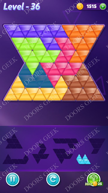 Block! Triangle Puzzle Advanced Level 36 Solution, Cheats, Walkthrough for Android, iPhone, iPad and iPod