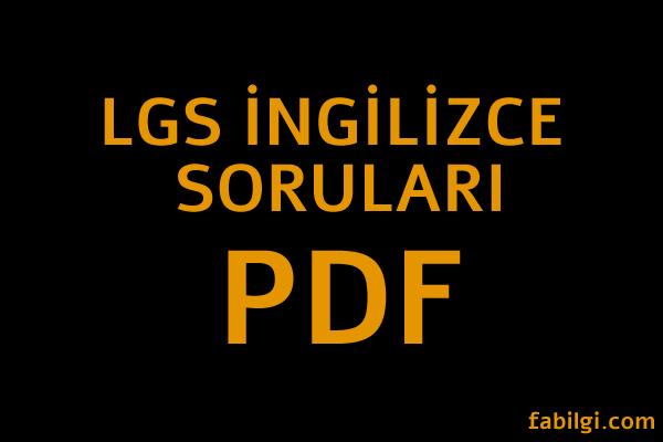 LGS 2021 Hazırlık MEB İngilizce Soruları PDF İndir Çözümlü