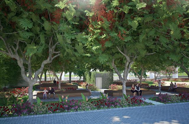 Vườn cây xanh che phủ bóng mát tại The Lotus Center