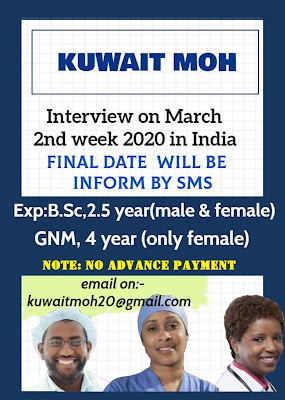MALE AND FEMALE STAFF NURSES FOR KUWAIT MOH