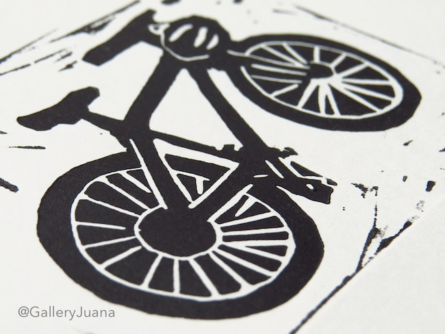 bicycle linocut by Gallery Juana