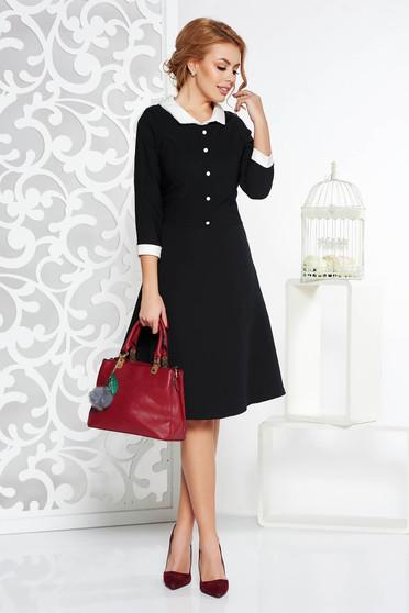 Rochie neagra office midi in clos din stofa subtire usor elastica captusita pe interior cu guler