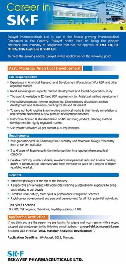 Eskayef Pharmaceuticals job circuler 2019 has been published