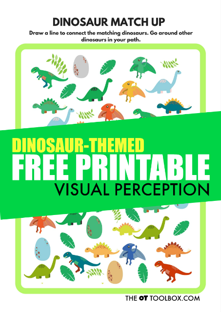 Kids will love this free visual perception printable sheet with a dinosaur theme