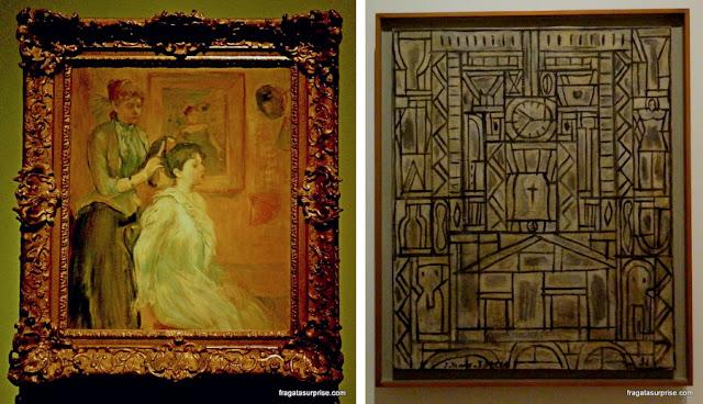 "Obras do Museu Nacional de Belas Artes de Buenos Aires: ""O Penteado"", de Berthe Morisot,e ""Construtivo com peixe ocre"", de Joaquín Torres-García"