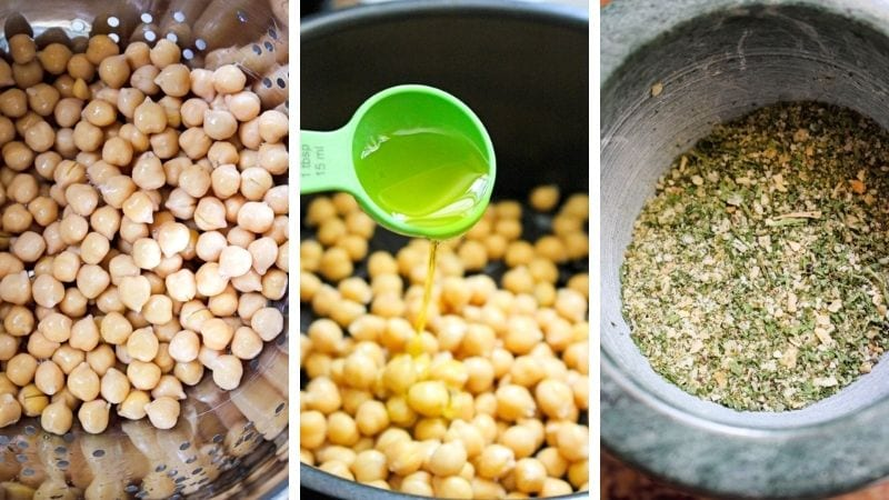 Collage of images of Crispy Air Fryer Ranch Chickpeas being made.