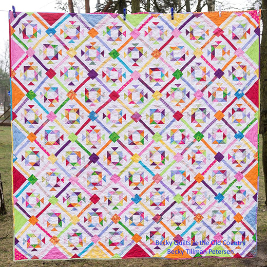 Gumdrop Geometry Quilt Free Pattern Designed by Becky Tillman of QuiltedTwins
