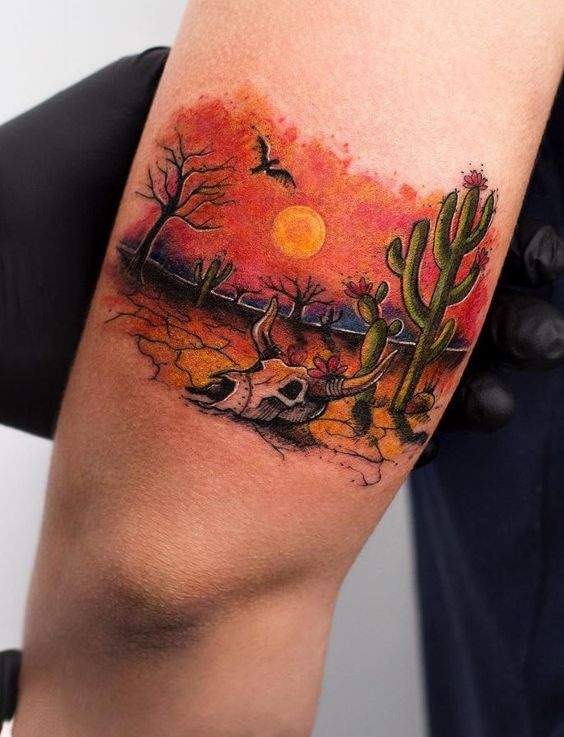 Cactus-in-Desert-Colourful-Tattoo-by-Robson-Carvalho