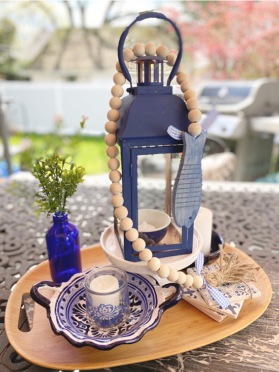 blue accessories on outdoor table