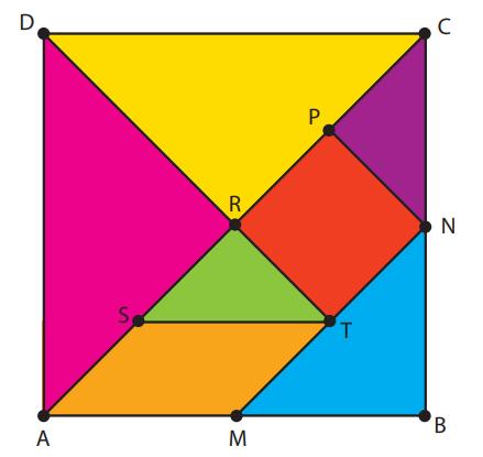 (UERJ 2019) O Tangram é um quebra-cabeça chinês que contém sete peças: um quadrado, um paralelogramo e cinco triângulos retângulos isósceles. Na figura, o quadrado ABCD é formado com as peças de um Tangram.