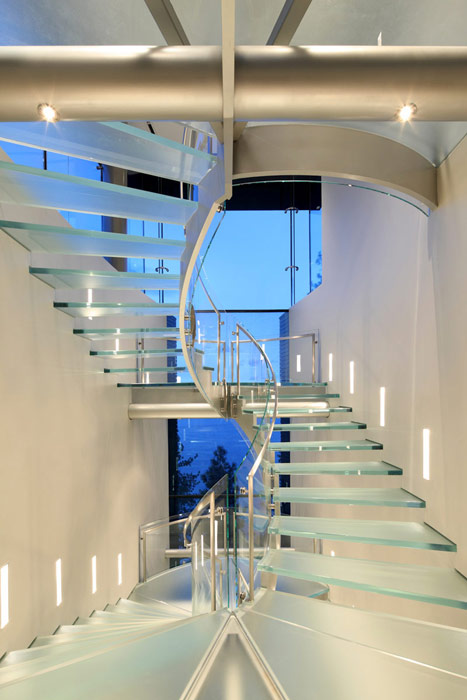Glass stairs in the Lake House