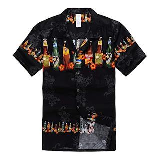 Moda Cervecera: Camisa hawaiana de botellas de cerveza
