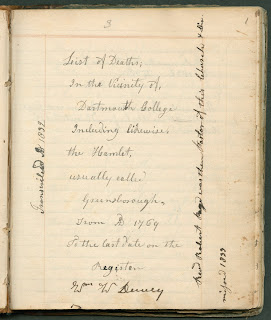 "A photograph of a handwritten page beginning with ""List of Deaths..."""