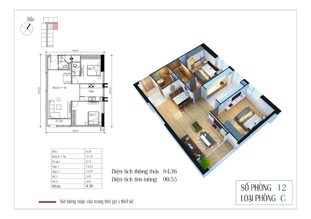 Thiết kế căn hộ số 12: 84,36m2