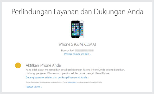 Serial Number iPhone yang di cek melalui selfsolve.apple.com