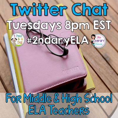 #2ndaryELA Twitter chat for MS/HS English Language Arts Teachers, Tuesdays 8pm EST.