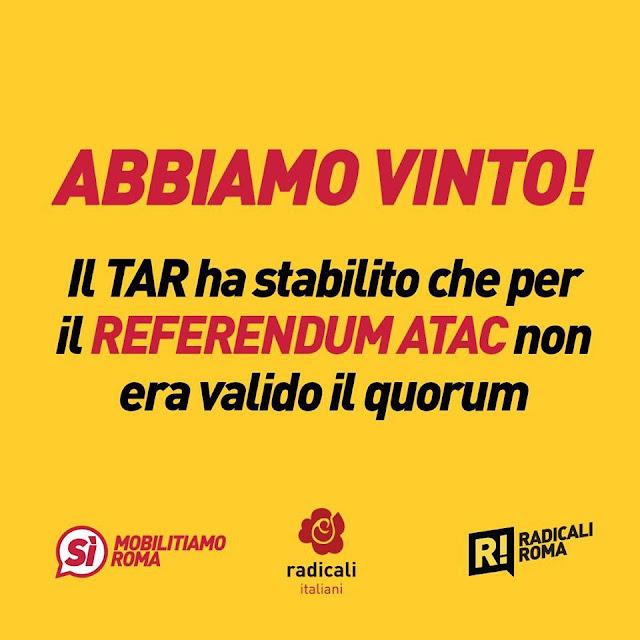 Ok referendum Atac, non serviva quorum