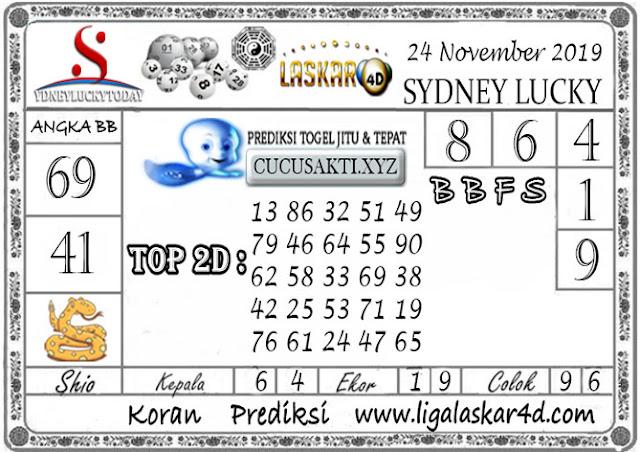 Prediksi Sydney Lucky Today LASKAR4D 24 NOVEMBER 2019