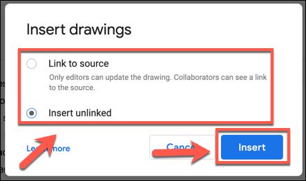"""اختر خيارات مصدر الرسم ، ثم اضغط على """"إدراج"""" لإضافته إلى المستند"""