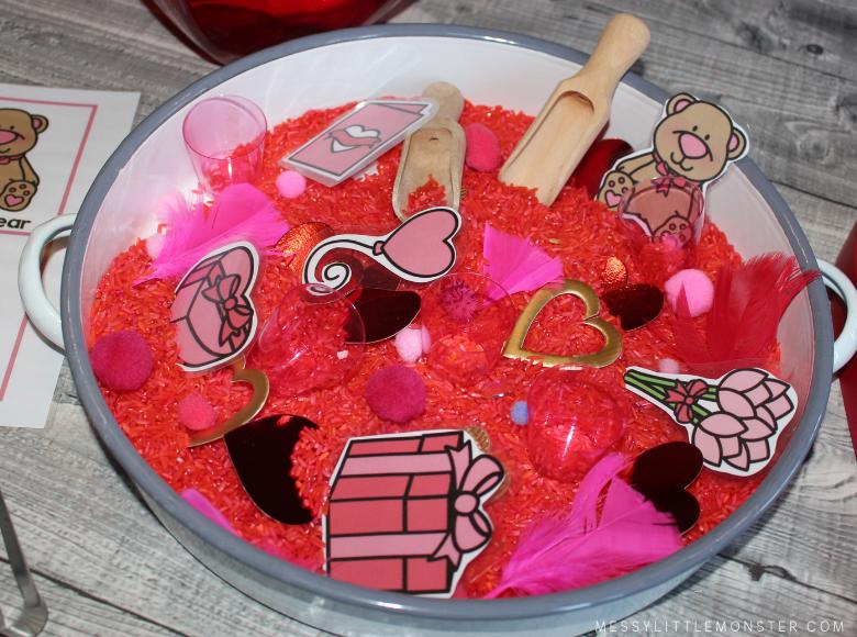 Rice sensory bin for Valentines Day