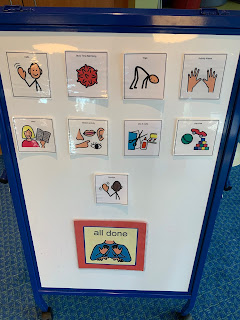 Visual schedule with images for each story time activity