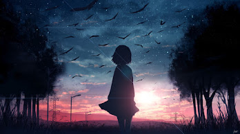 Sunrise, Anime, Girl, Silhouette, Scenery, 4K, #4.628