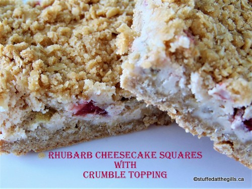 Rhubarb Cheesecake Squares with Crumble Topping