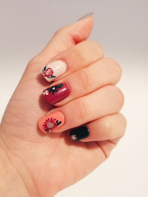 Nail Art/ /Fall Flowers - Cup of Thoughts