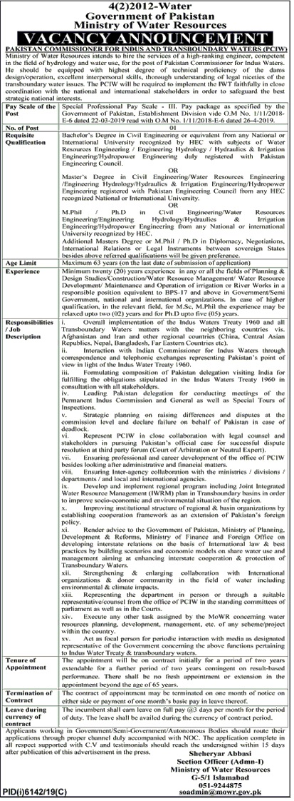 Pakistan Commissioner for Indus Waters PCIW Jobs 2020