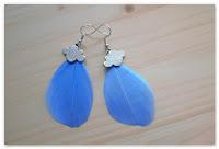 boucles d'oreilles plumes bleues et breloques nuages