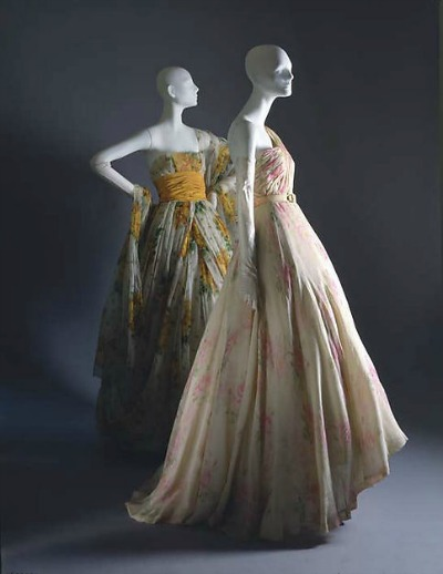 Two Christian Dior designs displayed on mannequins from his Spring/Summer 1951 Cecil Beaton collection