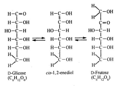 glicose frutose formando 1,2 enediol