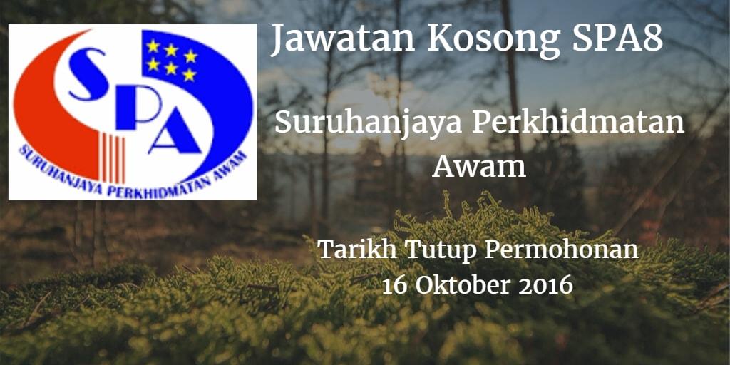 Jawatan Kosong SPA8 16 Oktober 2016