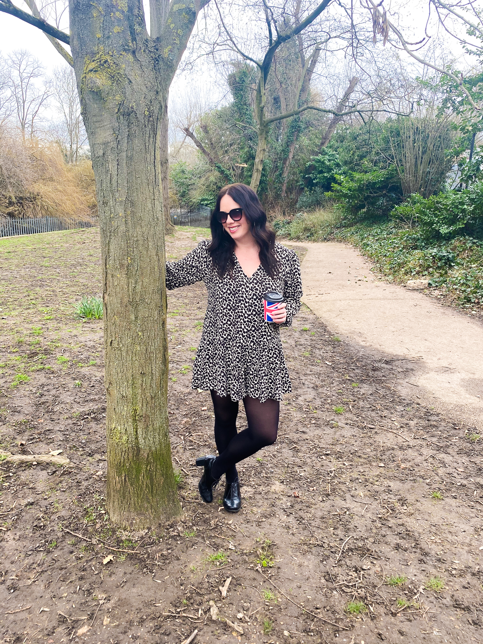 Leopard Print Playsuit with black tights