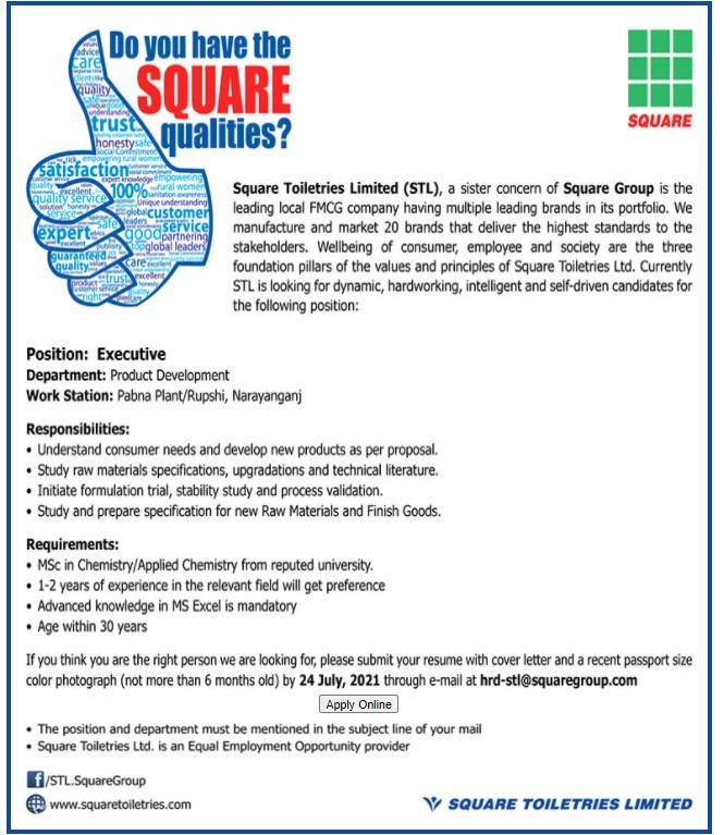 স্কয়ার টয়লেট্রিজ লিমিটেড নিয়োগ বিজ্ঞপ্তি ২০২১ - SQUARE Toiletries Ltd Job Circular 2021 - বেসরকারি চাকরির খবর ২০২১
