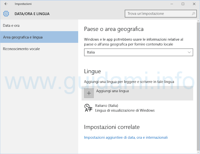 Windows 10 Aggiungi una lingua